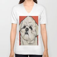 shih tzu V-neck T-shirts featuring Waffles the Shih Tzu by Cheney Beshara