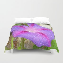 Mauve and Magenta Morning Glory with Water Drops Duvet Cover
