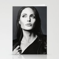 angelina jolie Stationery Cards featuring Angelina Jolie by Liliana Corradini