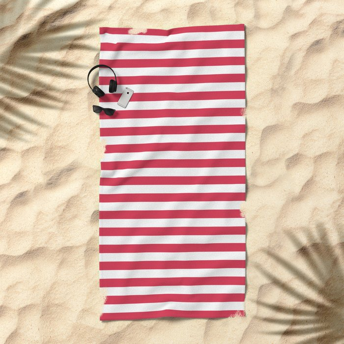Red White Striped Beach Towel