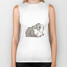 Carrot and Silkie Guinea Pig pattern in White Background Silkie Guinea Pigs illustration Biker Tank