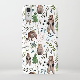 Bears, trees, and leaves pattern iPhone Case