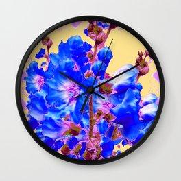 Blue & Purple Holly Hocks Pattern Yellow Floral Art Wall Clock
