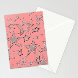 Holiday decor, shiny stars Stationery Cards
