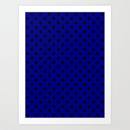 Black on Navy Blue Stars Art Print