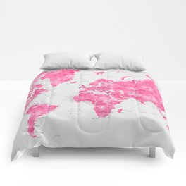 Pink watercolor world map with cities - PRINTS IN SIZES L & XL ONLY Comforters