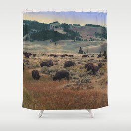 Bison in Paradise Shower Curtain