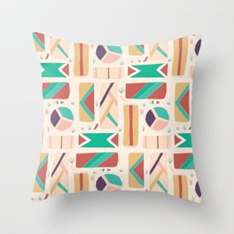 Crowded Beach Towels Pattern Throw Pillow
