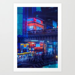Tokyo Nights / Anime Town / Liam Wong Art Print