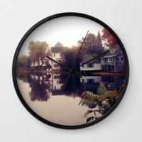 maine Wall Clocks featuring Maine Fog by KarenHarveyCox