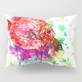 Discus Red Purple Aquatic Colorful fish design aquarium Pillow Sham