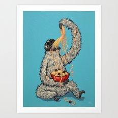 Three Toed Sloth Eating Spaghetti From a Bowl Art Print