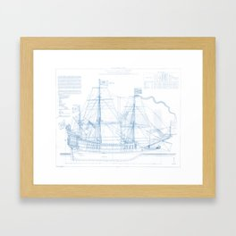 1636 French ship Couronne - Blueprint Style Framed Art Print