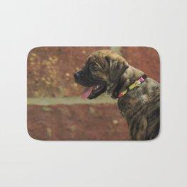 Bulldog x bull mastiff pup Bath Mat