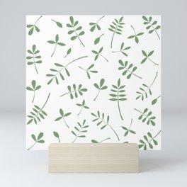 Green Leaves Design on White Mini Art Print