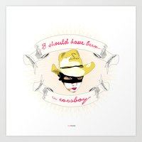 cowboy Art Prints featuring Cowboy by la belette rose