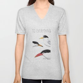 Turn! Turn! Turn! (Least Tern, Common Tern, Caspian Tern) Unisex V-Neck