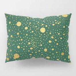 Gold leaf hand drawn dot pattern on petrol green Pillow Sham