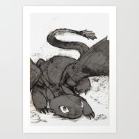 toothless Art Prints featuring Toothless by SpaceMonolith