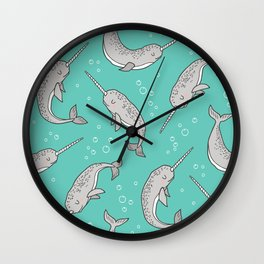 Narwhal  Grey on Green Mint Wall Clock