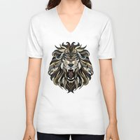 lion V-neck T-shirts featuring Lion by Andreas Preis