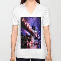new york V-neck T-shirts featuring New York New York by WhimsyRomance&Fun