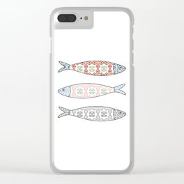 Traditional Portuguese icon. Colored sardines with typical Portuguese tiles patterns. Vector illustr Clear iPhone Case