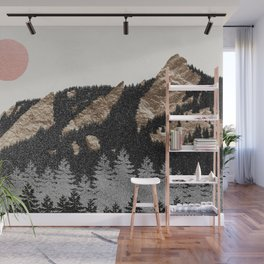 Flatirons Boulder Colorado - Climbing Gold Mountains Wall Mural