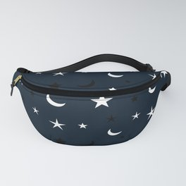 Navy blue background with black and white moon and star pattern Fanny Pack