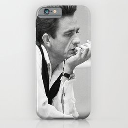 Johnny Cash Smoking, Music Print, Country Legend, Vintage photography, gift for him, Johnny Cash print, Johnny Cash poster, Johnny Cash art iPhone Case
