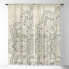 Warm Beige Boho Mandala Sheer Curtain