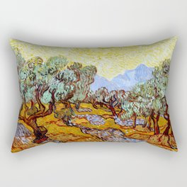 """Vincent Van Gogh """"Olive Trees With Yellow Sky And Sun"""" Rectangular Pillow"""