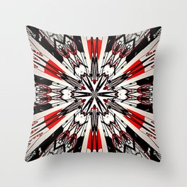 Red And Black Helping Hands Mandala Throw Pillow