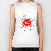 shaun of the dead Biker Tanks featuring Shaun oF The Dead  |  You've Got Red On You... by Silvio Ledbetter