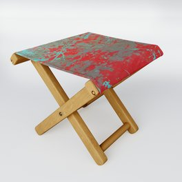 texture - aqua and red paint Folding Stool