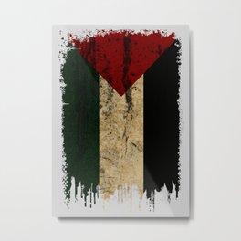 Palestine Flag Grunge Metal Print