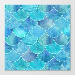 Turquoise Blue Watercolor Mermaid Canvas Print