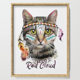 Boho cat illustration. Serving Tray