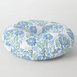 Moravian Folk Design Blue Floor Pillow