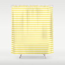 Lemon yellow retro stripes Shower Curtain