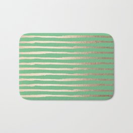 Abstract Stripes Gold Tropical Green Bath Mat