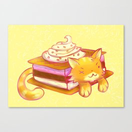 Ice sandwich cat Canvas Print