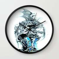 mother of dragons Wall Clocks featuring dragons by Moonlight Creations