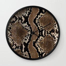 Python Skin Pattern Snake Skin Brown Animal Print Home Decor Wall Clock