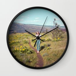 Daydreaming Girl in the Gorge - Rowena Crest Trail in the Columbia River Gorge - Film Photograph Wall Clock