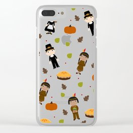 Pilgrims and Indians pattern - Thanksgiving Clear iPhone Case