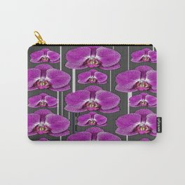Black & White Stripes Purple Orchids Pattern Art Carry-All Pouch