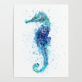 Blue Turquoise Watercolor Seahorse Poster