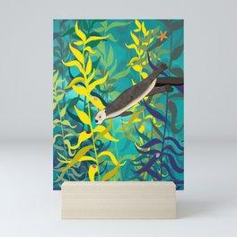 Sea Otter Swimming Through A Kelp Forest Mini Art Print