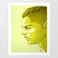ronaldo Art Prints featuring Cristiano Ronaldo by nachodraws